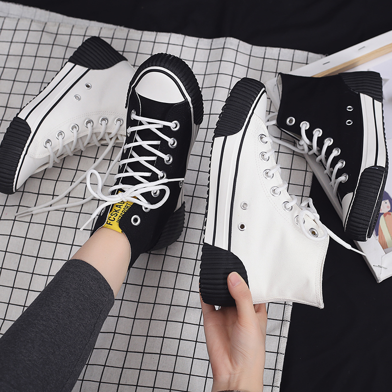 2020 Spring New High-top Canvas Women's Shoes Female Creative Casual Vulcanized Shoes Retro Sneakers Comfortable Flat Shoes