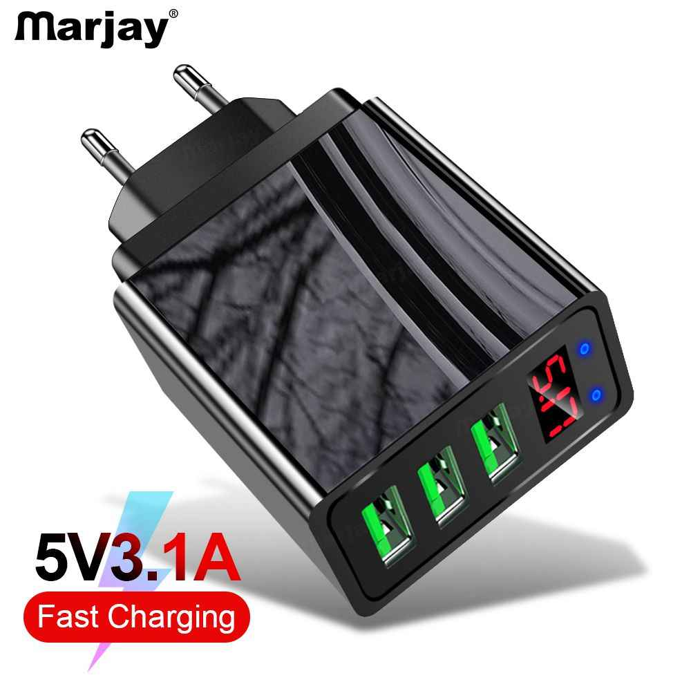 Marjay 3 Port USB Charger LED Display Uni Eropa US Plug 3.1A Smart Fast Charger Dinding Charger Ponsel untuk iPhone samsung Xiaomi LG