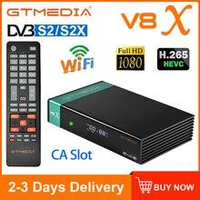 Gtmedia v8x h.265 DVB-S2 receptor de satélite dvb s2 s2x buildin wi fi ca slot para cartão scart definir caixa superior atualização da gt media v8 nova
