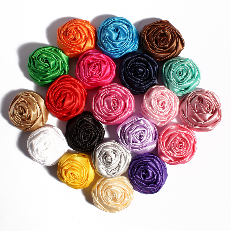 20PCS 4CM Fashion Rosette Rose Bud Flowers For Hair Accessories Satin Fabric Flower For Wedding Bouquet Headbands