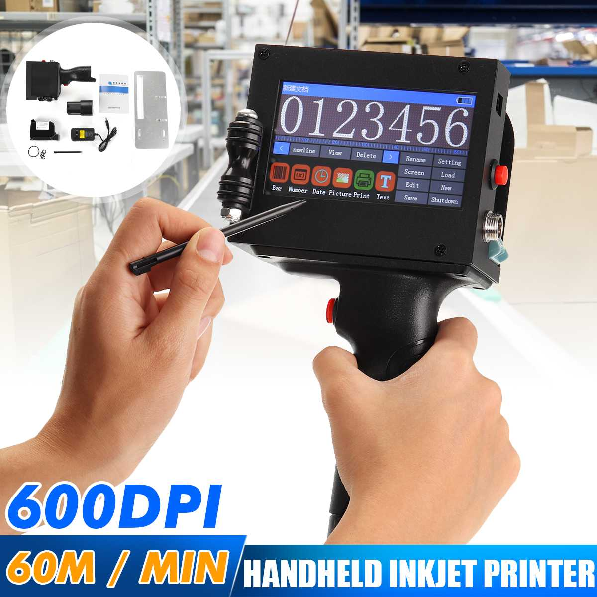 360 Degree Upgraded Hand Jet Handheld Touch Inkjet Printer For Logo/ Expiry Date/batch Code/serial Number/label/barcode/QR Code