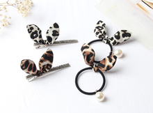JZJR Lovely Rabbit Ear Scrunchies Cute Hair Ties Pearl Elastic Hairband Girls Leopard Accessories for Woman Rope Gum