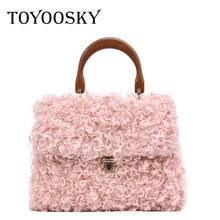 TOYOOSKY Luxury Handbags Women Bags Designer Fashion Faux Fur Shoulder Wood Handle Small Crossbody For