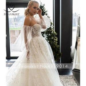 Image 5 - SWANSKIRT Sweetheart Illusion 웨딩 드레스 2020 2 In 1 Sleeve a 라인 프린세스 맞춤형 브라 가운 Vestido de novia I327