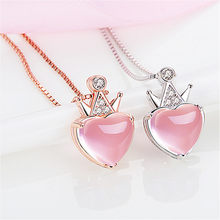 Top Quality Rose Gold Chain Necklace For Women Crystal Heart Crown Pendant Accessories Trendy 925 Silver Necklace Female Bijou(China)