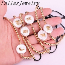 10Pcs Freshwater pearl with cz Letter charm bracelets,Braided Macrame Copper Beaded Bracelet Charm Adjustable Jewelry