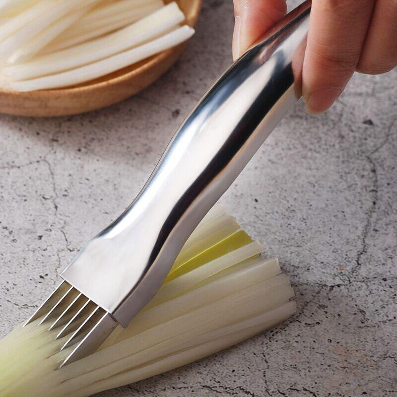 Нержавеющая сталь зеленый лук slicer измельчитель с Сменные кассеты-6 шт. cocina кухонный инструмент овощи зеленый резчик лука кухонные принадлеж...