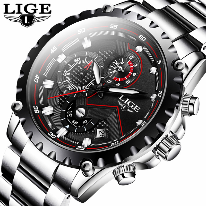 2020 LIGE Men Watch Fashion Quartz Watch Mens Top Brand Luxury All Steel Business Waterproof Sport Watch Relogio Masculino+BOX