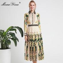 купить MoaaYina Fashion Designer Runway dress Spring Autumn Women Dress Long sleeve Floral-Print Elegant Pleated Dresses онлайн