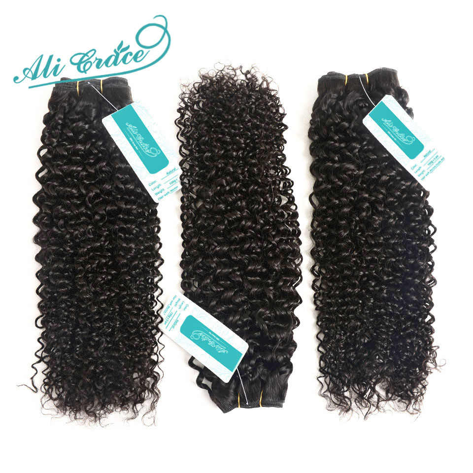 ALI GRACE Hair Brazilian Kinky Curly Hair 1 3 and 4 Bundles 10-28 inch Natural Black 100% Remy Human Curly Weave Hair Bundles
