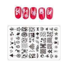 Stamps Nail-Plates Decoration Christmas-Nails Art-Design for Fashion 1pcs