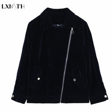 LXMSTH Fall 2019 Large Size Velvet Jacket Women Blue Wine Red Plus Size Casual Zipper Velvet Coats Ladies Basic Coat 4xl(China)