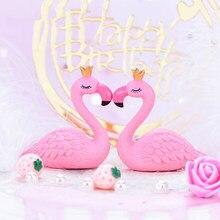 Crown Flamingo Micro Landscape Diy Cake Decor Flamingo Wedding Birthday Cake Topper Girls Happy Birthday Party Decor Flamingo
