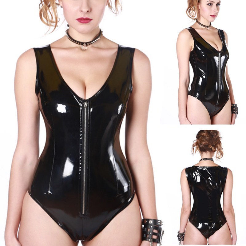 Black Latex PVC Bodysuit Cat Women Faux Leather Catsuit Erotic Wet Look Bodycon Punk Fetish Deep V Sleeveless Sexy Club Jumpsuit