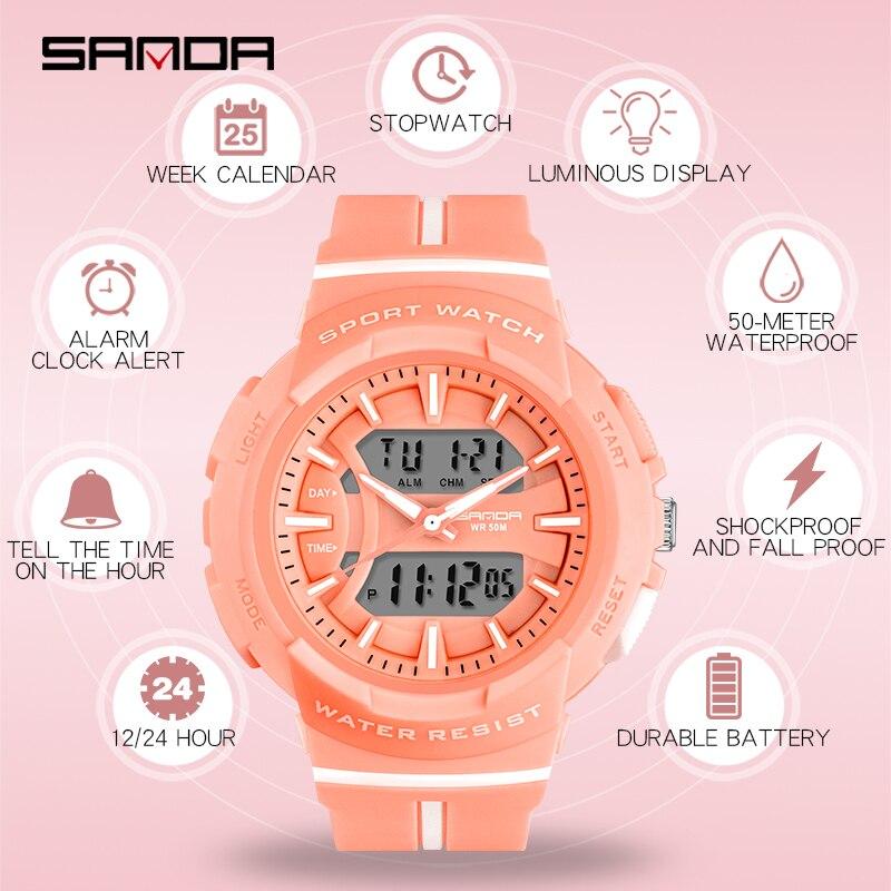 Montres femme mode robe Bracelet haut marque SANDA montre-Bracelet luxe Anti-chute chronomètre montre numérique fille heure réveil 5
