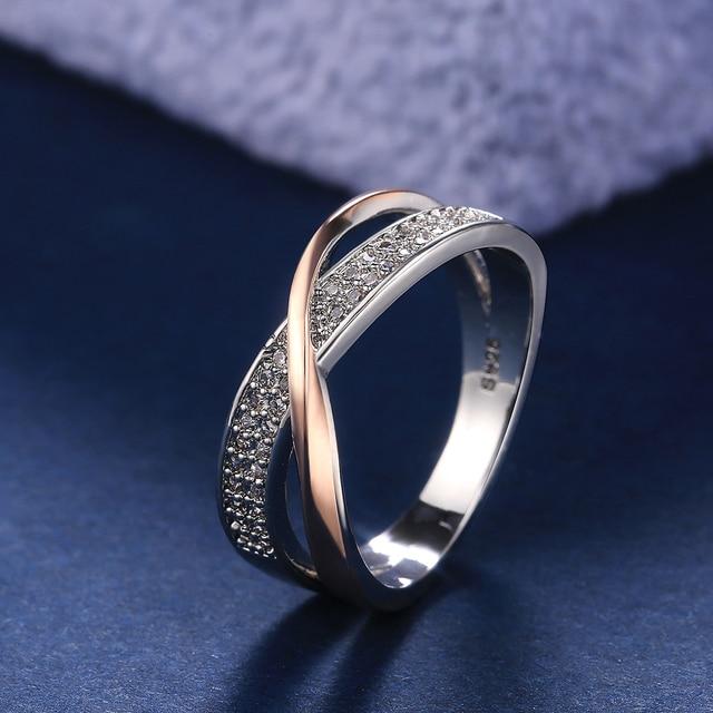 beautiful two-tone criss-cross diamonelle ring 6