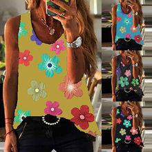 Fashion Street Hipster Women's Vest Printed Sleeveless Round Neck Vest T-shirt Loose Leisure Vacation Beach Pullover T-shirt