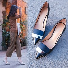 Pointed shoes women's summer cowhide metal shallow thin heel shoes autumn high-heeled shoes spring moda mujer 2018 womens high heeled shoes sexy korean version thin heel pointed professional shoes yasilaiya shallow