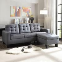 Gray Linen Modular Sofa L shaped Home Living Room Furniture Couches Set Prefabricated House USA Warehouse