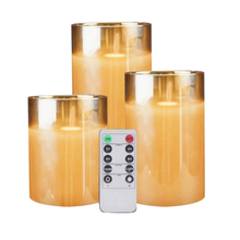 Flameless Candles Glass Battery-Operated Gift Wedding-Festival-Decorations Amber Flickering