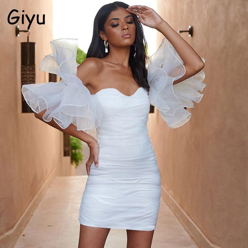 Giyu Sexy Club Party vestido de mujer ropa de verano 2020 de malla volantes Puff manga Ruched Bodycon Vestidos blanco negro Mini Vestidos ¡Novedad de 2020! Zapatos de tacón alto a la moda para mujer, tacones finos, clásicos, blancos, rojos, beige, zapatos sexis para graduación y bodas, vino rojo y azul