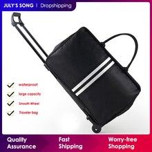 Música de julysong s men bagagem sacos de viagem trole saco com rodas rolando carry on mala de viagem saco de rodas