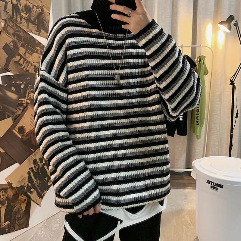 Winter Turtleneck Sweater Men's Warm Fashion Casual Knit Pullover Men Loose Stripes Knitting Sweaters Male Sweter Clothes