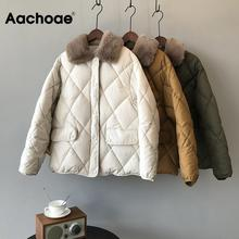 Женская парка, зимнее пальто с воротником из искусственного меха, длинный рукав, пуговицы, карманы, толстая теплая верхняя одежда, куртка, Женская Стеганая куртка на молнии