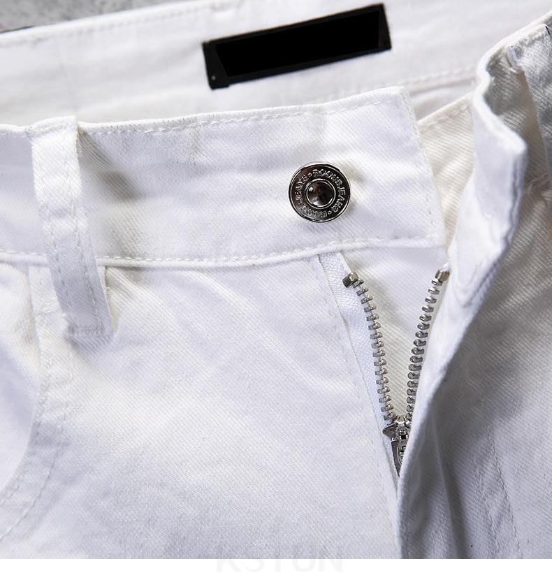 KSTUN Skinny Jeans Men Solid White Mens Jeans Brand Stretch Casual Men Fashioins Denim Pants Casual Yong Boy Students Trousers Cowboys 16