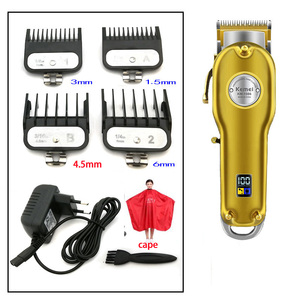 Image 5 - Kemei 1986 all metal barbeiro máquina de cortar cabelo profissional elétrica sem fio lcd aparador de cabelo ouro prata máquina de corte de cabelo cortador