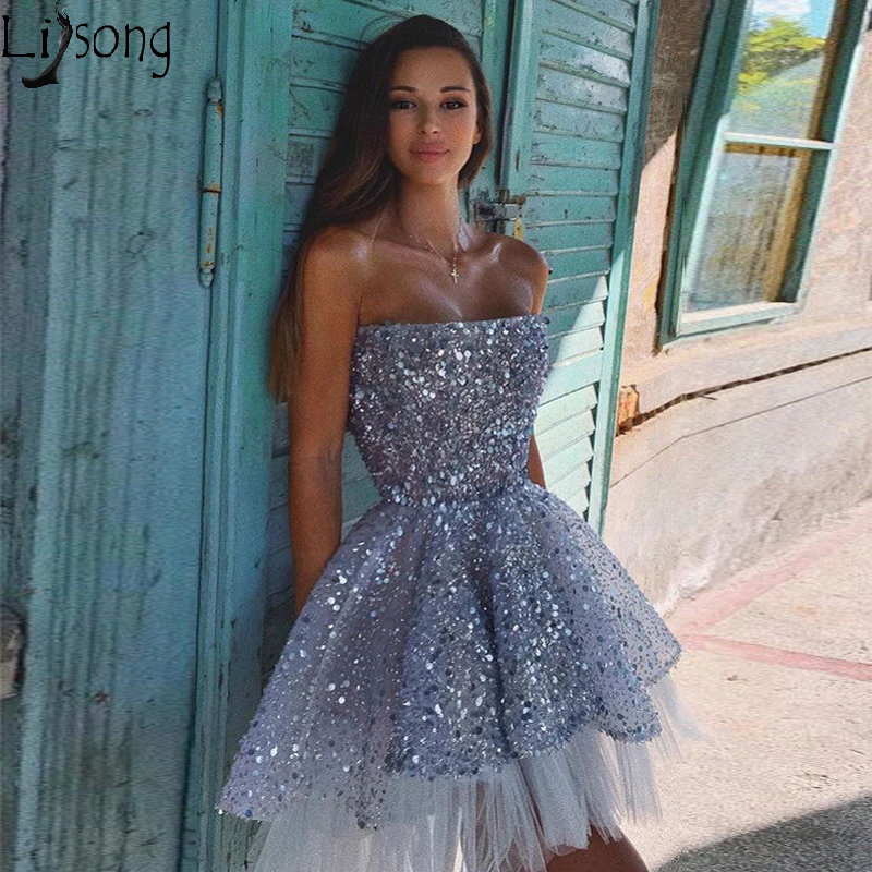 Sparkly Sequin Tulle A-line Backless Hi-Lo Homecoming Dress Short Birthday Gown Strapless Mini Prom Dresses Cocktail Wear Cheap