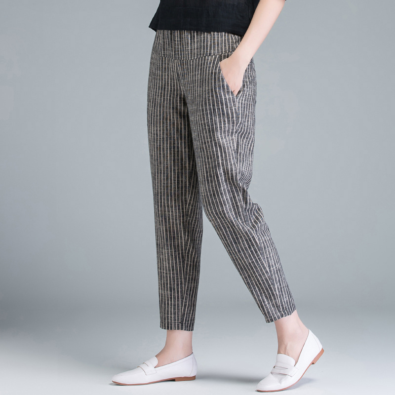 2019 New Style Elastic Waist Stripes Cotton Pants Women's Loose-Fit Radish Pants High-waisted Slimming Loose-Fit Capri Harem Pan