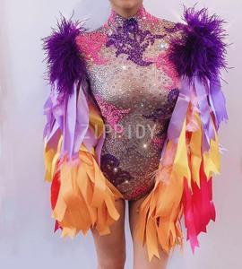 Image 4 - Wielu kolor dżetów wstążka frędzle body urodziny świętować Prom strój Bar kobiety piosenkarka tancerz kostium
