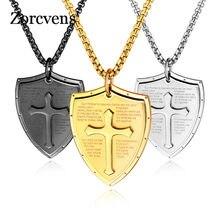 Zorcvens men escudo forma cruz pingente colar de aço inoxidável bíblia jóias cristãs