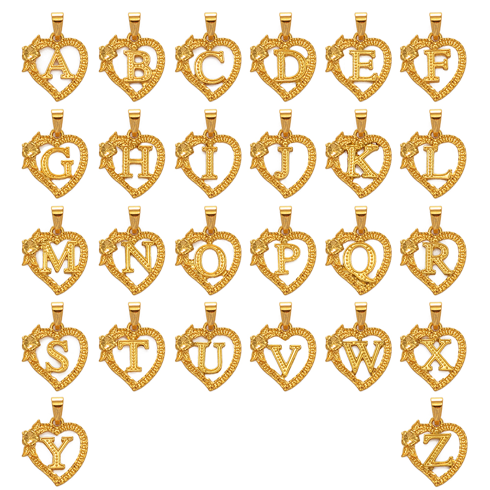 Anniyo A-Z Heart Letters Charm Pendant Necklaces Gold Color Flower Initial Jewelry Alphabet Chains African #232706