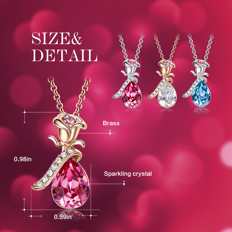 Image 4 - Cdyle Boho Jewelry Gold Necklace Chain Pink Crystal Rose Flower Pendant Necklace with Zircon for Female Wedding Anniversary Giftrose goldcrystal crystalnecklace crystal -