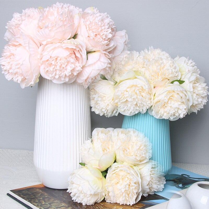Искусственные пружины пиона, 5 букетов, цветы, Шелковый цветок, листья для дома, офиса, свадьбы Вечерние шение для вечеринки, фестиваля, бара