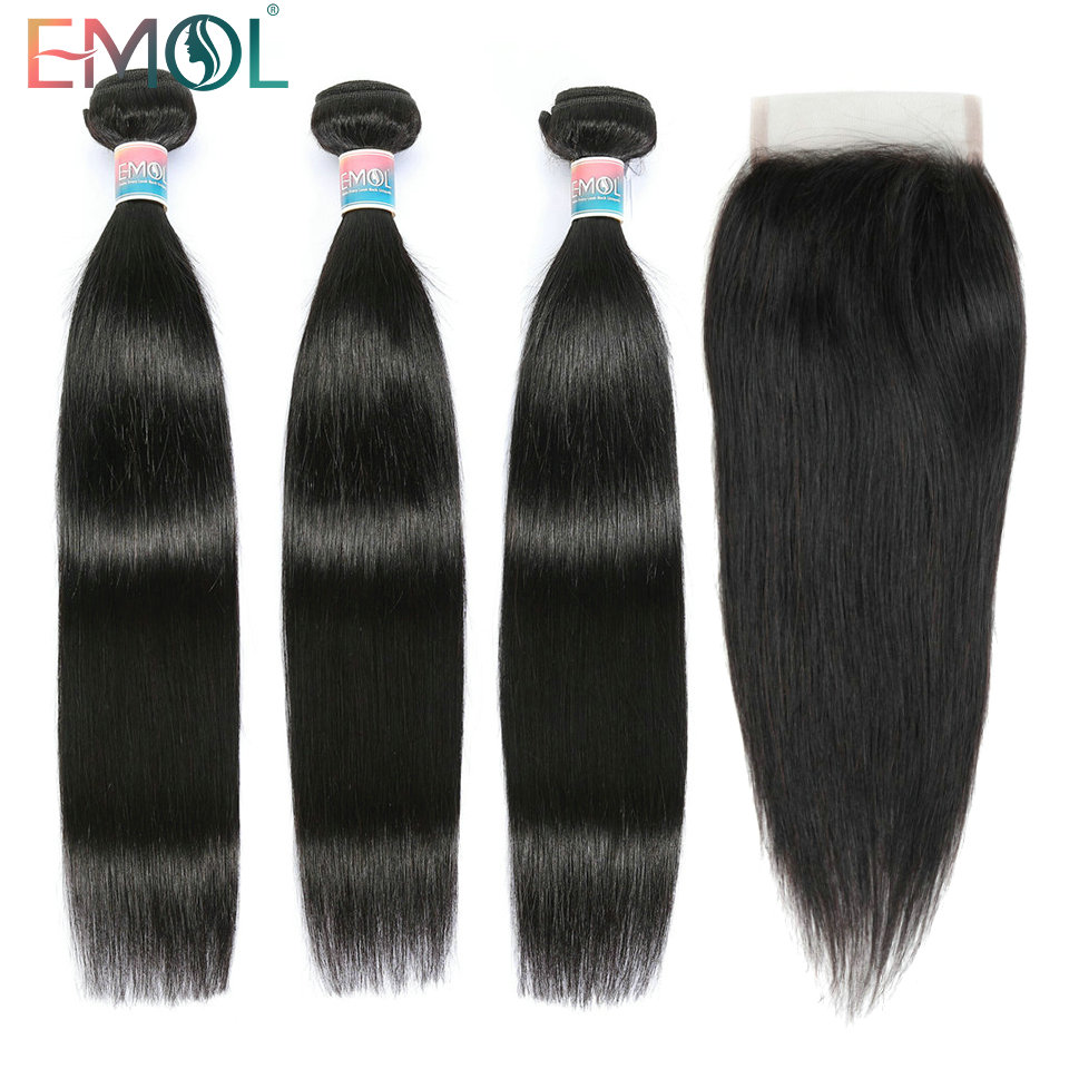 Emol Straight Human Hair 3/4 Bundles With Closure 4*4  Peruvian Hair Non-Remy Hair Pre Plucked Lace Frontal Closure With Bundles