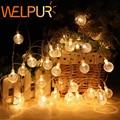 Праздничная светодиодная гирлянда с шариками, 10 м, 20 м, 220 В, водонепроницаемая уличная светодиодная гирлянда с лампочками для свадьбы, Рожде...