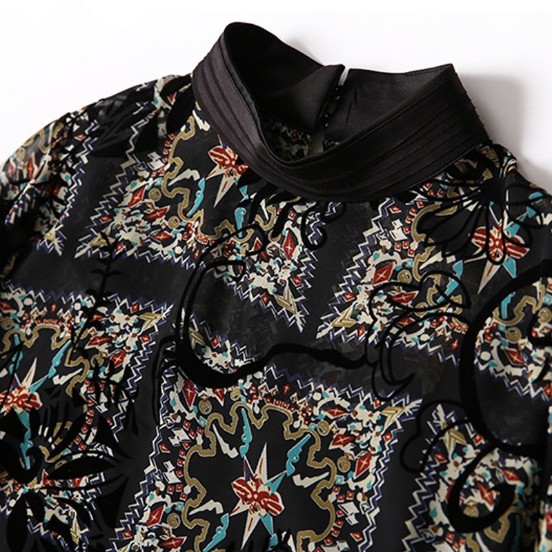 2020 Fashion Blouse Womens Summer Tops With Strap Stand Neck Floral Print Black Chiffon Blouses Loose Womens Shirts Plus Size
