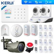 Kerui W18 WIFI GSM SMS المنزل لص LCD GSM SMS شاشة تعمل باللمس لوحة زر الإنذار المنزل نظام إنذار أمان IP واي فاي كاميرا App التحكم