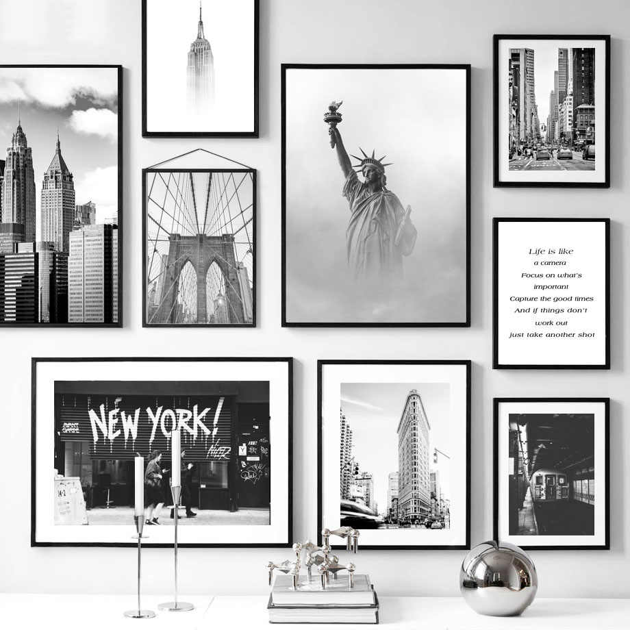 Beroemde Landschap New York Vrijheidsbeeld Zwart Wit Nordic Poster Wall Art Canvas Schilderen Pictures Home Decoratie