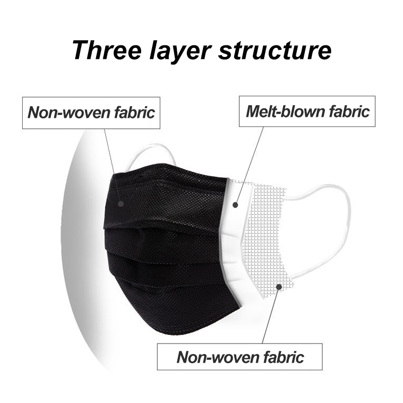 10-600pcs Mask Disposable Face Mask Black Nonwove 3Layer Mouth Mask filter Anti Dust Breathable Protective Adult masks Fast Ship 4