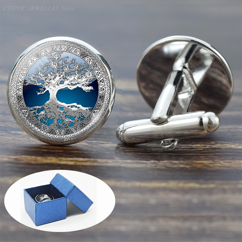 Tree of Life Cufflinks for Men Best Man Cufflinks Set Cufflinks Wedding Life Tree Suit Shirt Silver Cuff Links Men Accessories