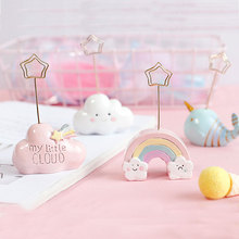 Coloffice Kawaii Desktop Card Holder Note Clip Creative Cute Cartoon Rainbow Message Folder Business Card Holder Decoration 1PC