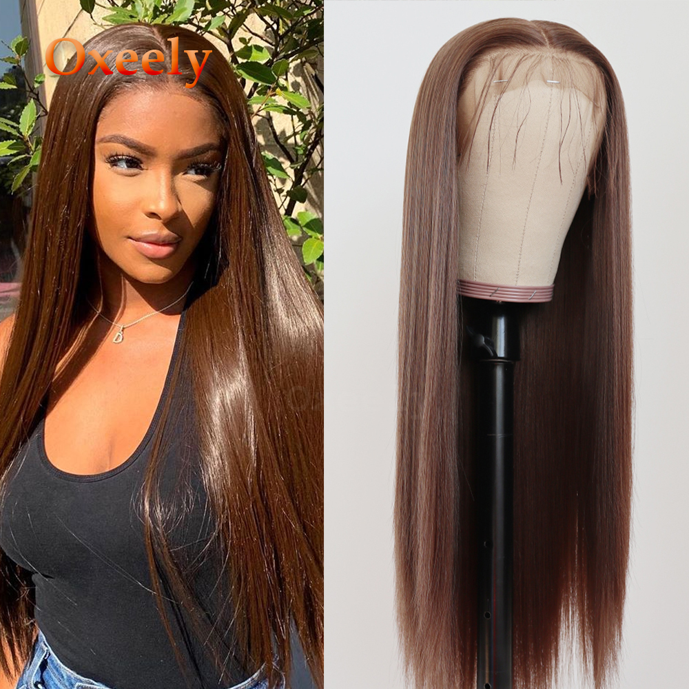 Oxeely Brown/Red Synthetic Lace Front Wigs Long Straight Natural Hairline 13x6 Lace Wig With Baby Hair Heat Resistant For Women
