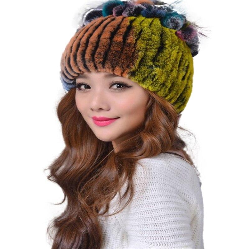 2019 Fashion New Women's Winter Rabbit Fur Hat Stretch Warm Soft Fur Authentic Luxury Quality Real Rabbit Fur Hat.