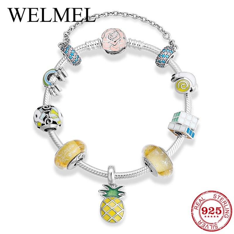 2019 novo 925 prata esterlina pulseiras & pulseiras colorido esmalte cz arco íris unicórnio charme para as mulheres jóias diy cristal pulseira