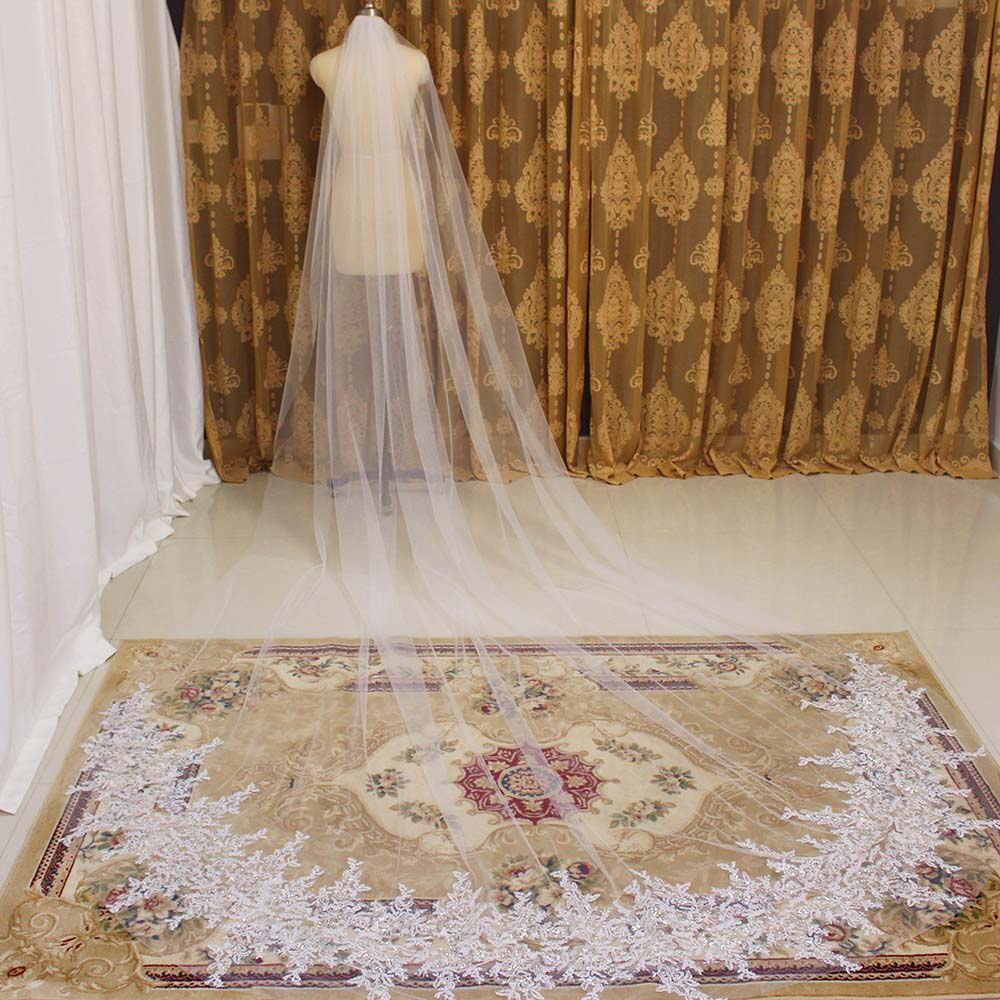 Sparkling Lace Appliques Wedding Veil Long 3 Meters One Layer Bridal Veil with Comb New Wedding Accessories Veil