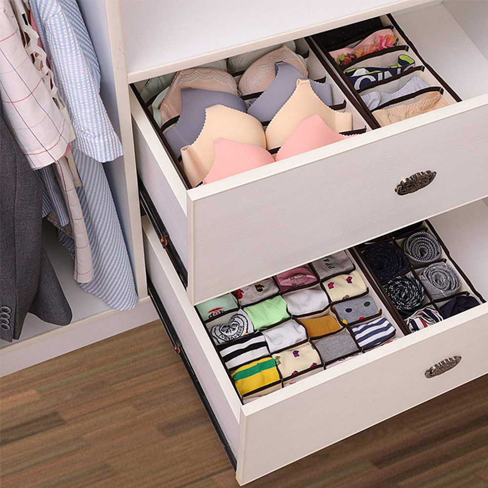 Multi-size Foldable Storage Boxes Underwear Closet Drawer Divider Lidded Closet Organizer For Ties Socks Bra Underwea